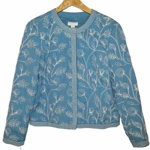 Charter club SP sky blue embroidered jacket